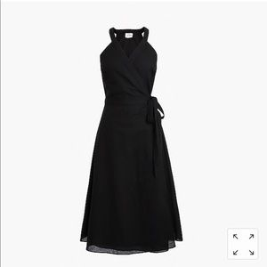 J. Crew Nantucket linen wrap dress in black NWT